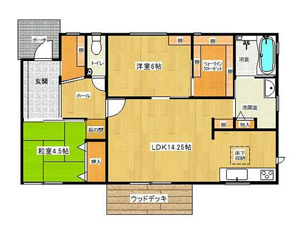 収納が豊富で室内を広く利用できる2LDKです。